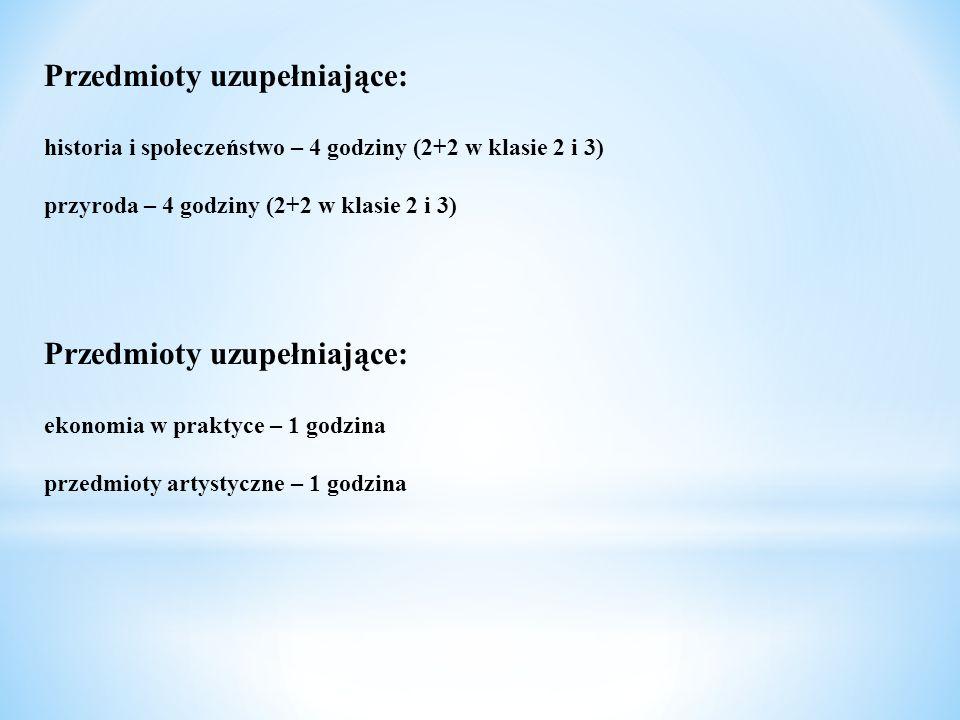 Przedmioty uzupełniające: historia i społeczeństwo – 4 godziny (2+2 w klasie 2 i 3) przyroda – 4 godziny (2+2 w klasie 2 i 3) Przedmioty uzupełniające