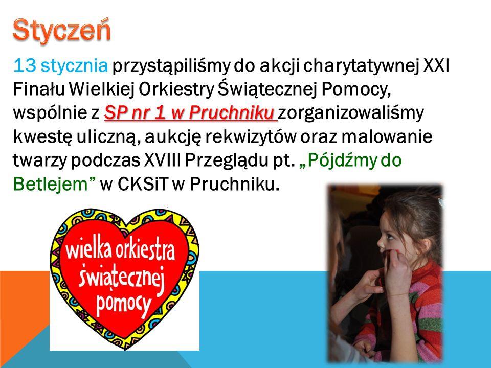 SP nr 1 w Pruchniku 13 stycznia przystąpiliśmy do akcji charytatywnej XXI Finału Wielkiej Orkiestry Świątecznej Pomocy, wspólnie z SP nr 1 w Pruchniku