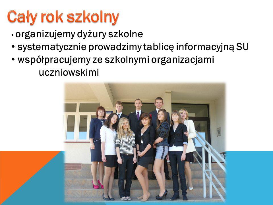 organizujemy dyżury szkolne systematycznie prowadzimy tablicę informacyjną SU współpracujemy ze szkolnymi organizacjami uczniowskimi
