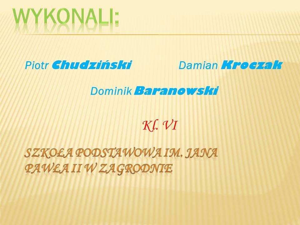 Piotr Chudziński Kl. VI Damian Kroczak Dominik Baranowski