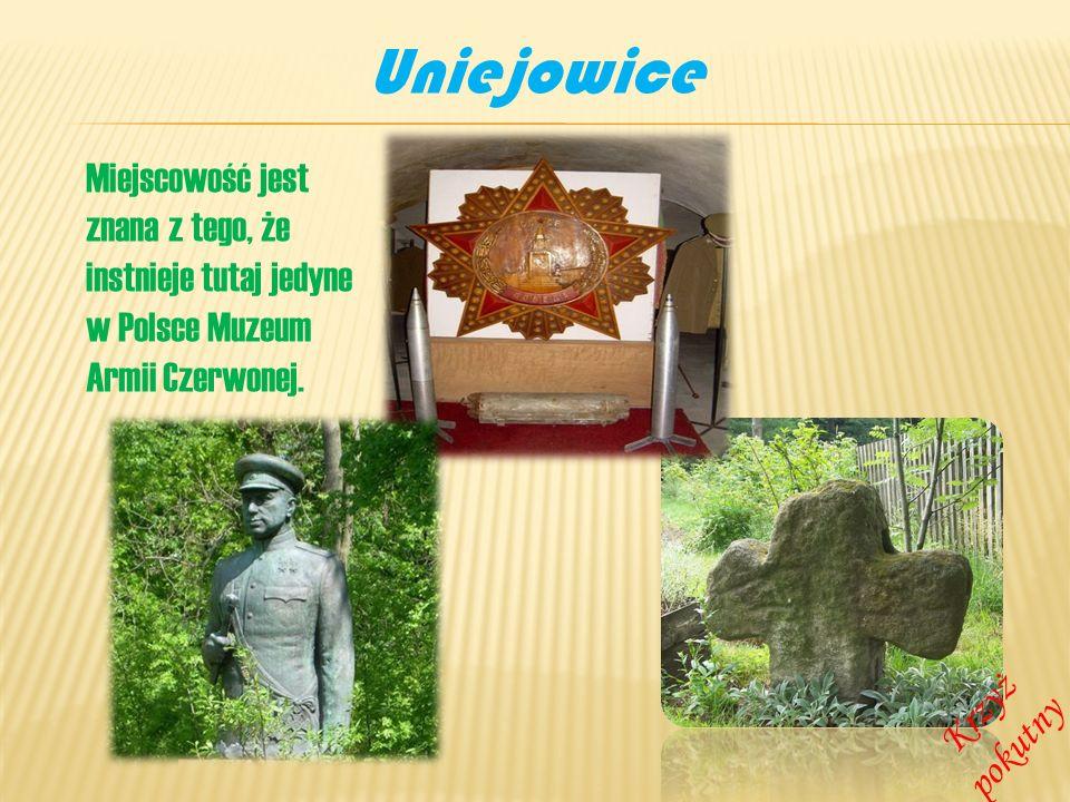 Uniejowice Miejscowość jest znana z tego, że instnieje tutaj jedyne w Polsce Muzeum Armii Czerwonej. Krzyż pokutny