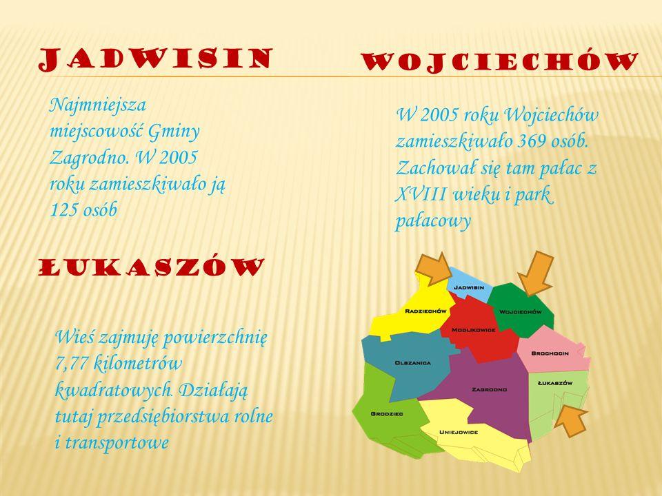 Jadwisin Najmniejsza miejscowość Gminy Zagrodno. W 2005 roku zamieszkiwało ją 125 osób Wojciechów W 2005 roku Wojciechów zamieszkiwało 369 osób. Zacho