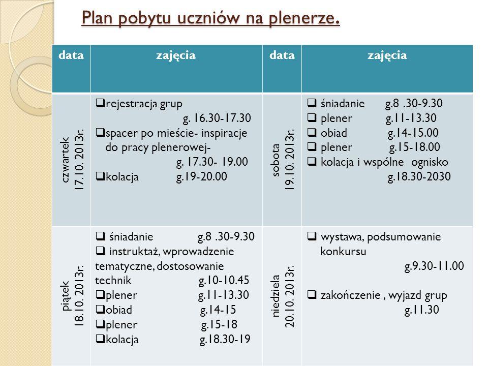 Plan pobytu uczniów na plenerze. datazajęciadatazajęcia czwartek 17.10. 2013r. rejestracja grup g. 16.30-17.30 spacer po mieście- inspiracje do pracy