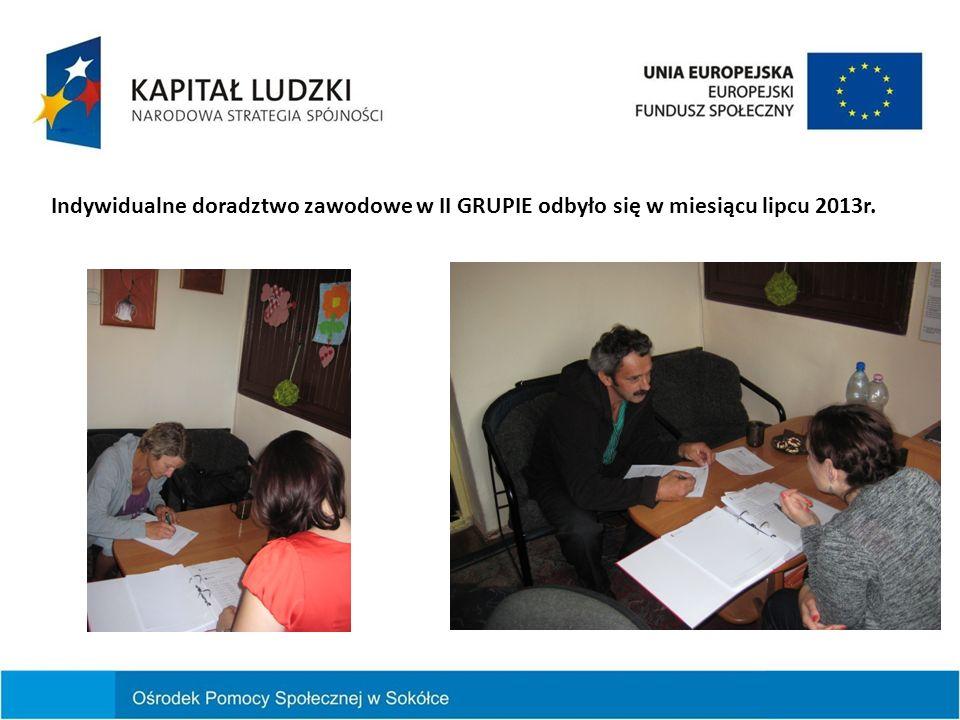 Indywidualne doradztwo zawodowe w II GRUPIE odbyło się w miesiącu lipcu 2013r.