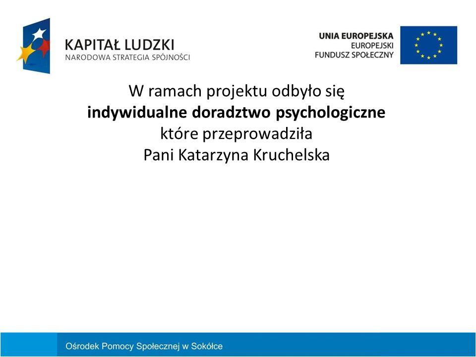 W ramach projektu odbyło się indywidualne doradztwo psychologiczne które przeprowadziła Pani Katarzyna Kruchelska