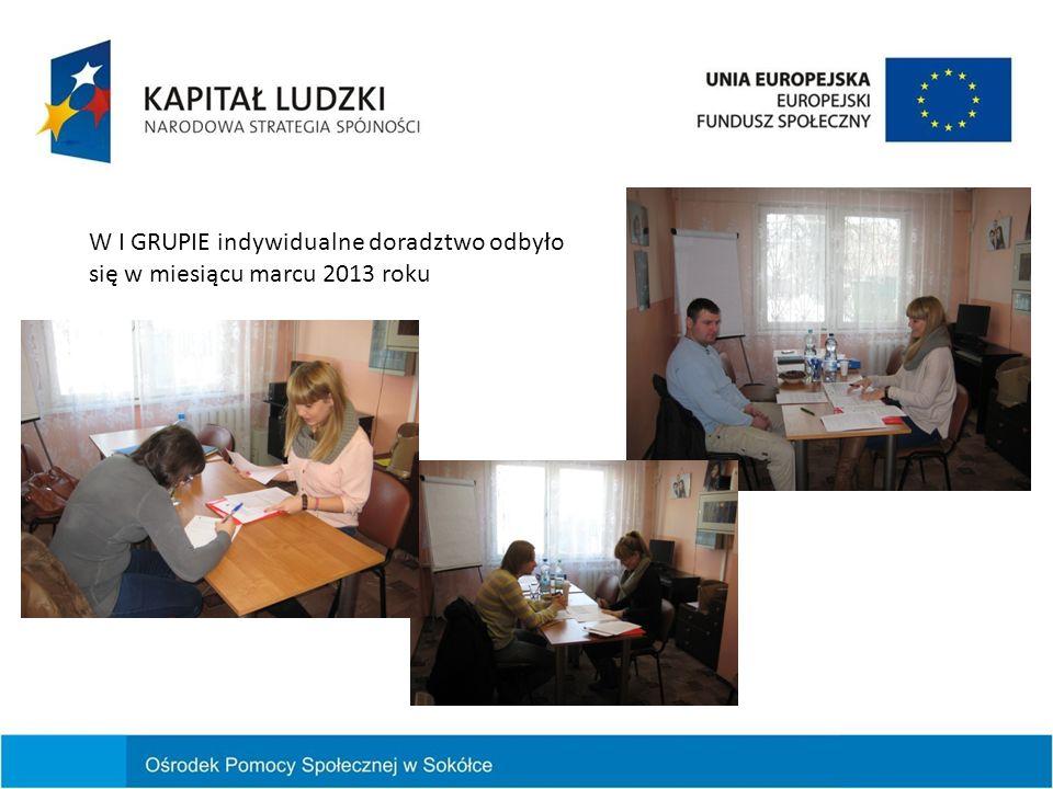 W I GRUPIE indywidualne doradztwo odbyło się w miesiącu marcu 2013 roku