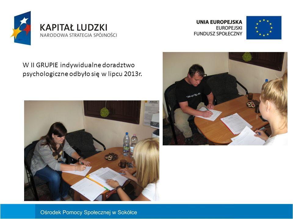 W II GRUPIE indywidualne doradztwo psychologiczne odbyło się w lipcu 2013r.
