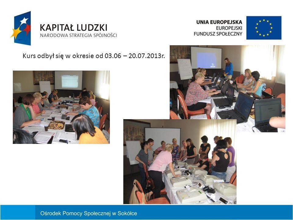 Kurs odbył się w okresie od 03.06 – 20.07.2013r.