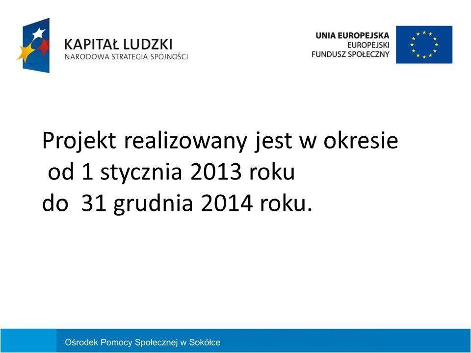 Projekt realizowany jest w okresie od 1 stycznia 2013 roku do 31 grudnia 2014 roku.