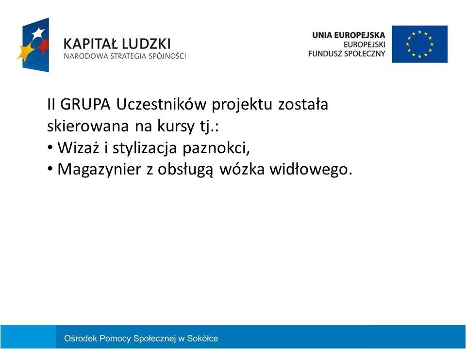 II GRUPA Uczestników projektu została skierowana na kursy tj.: Wizaż i stylizacja paznokci, Magazynier z obsługą wózka widłowego.