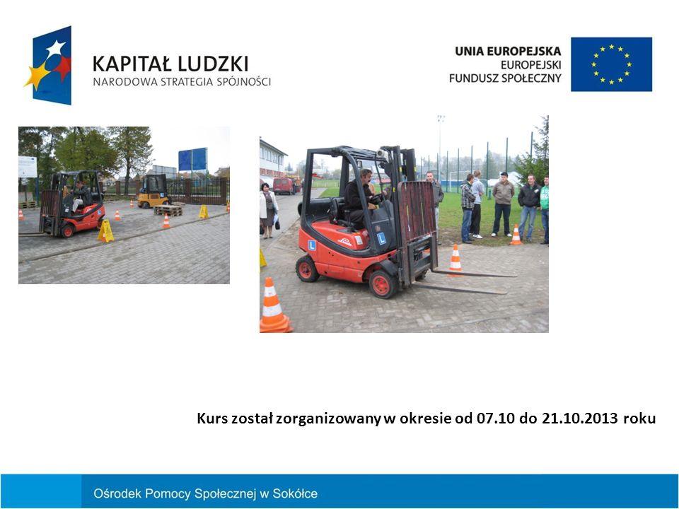 Kurs został zorganizowany w okresie od 07.10 do 21.10.2013 roku