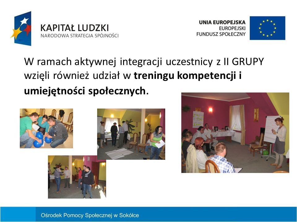 W ramach aktywnej integracji uczestnicy z II GRUPY wzięli również udział w treningu kompetencji i umiejętności społecznych.
