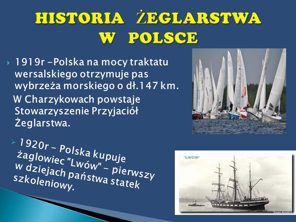 1919r -Polska na mocy traktatu wersalskiego otrzymuje pas wybrzeża morskiego o dł.147 km. W Charzykowach powstaje Stowarzyszenie Przyjaciół Żeglarstwa