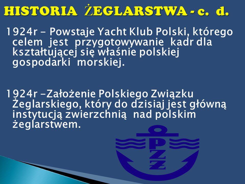 1924r - Powstaje Yacht Klub Polski, którego celem jest przygotowywanie kadr dla kształtującej się właśnie polskiej gospodarki morskiej. 1924r -Założen