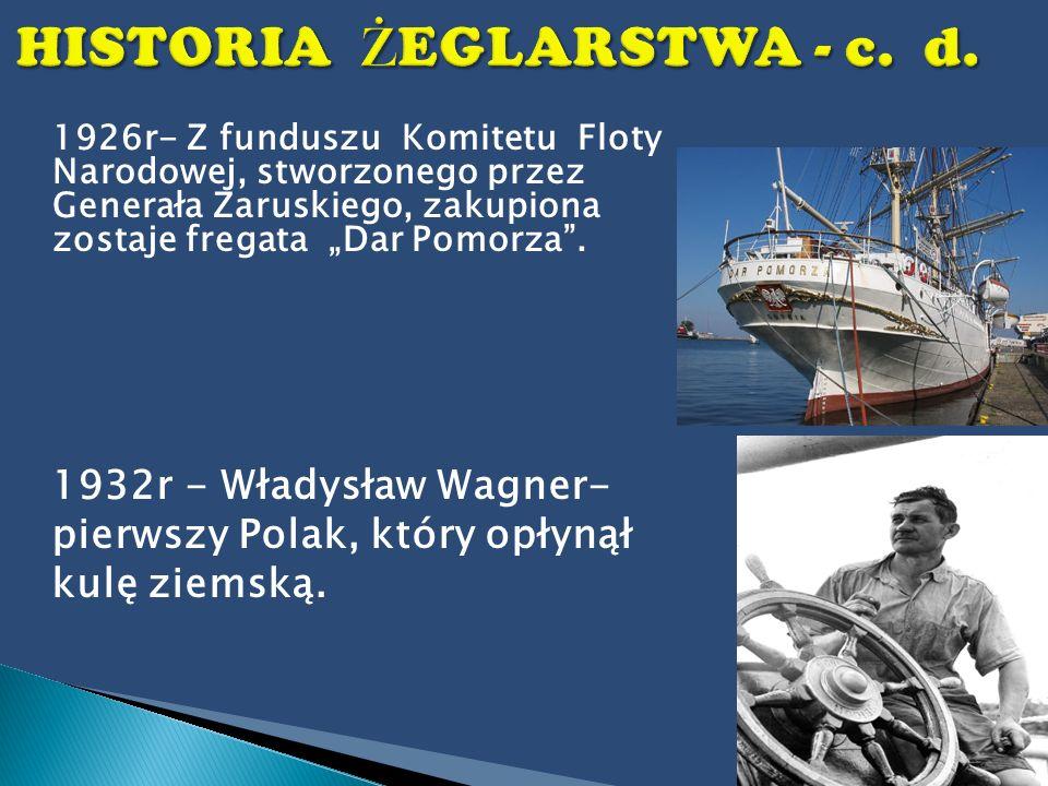 1926r- Z funduszu Komitetu Floty Narodowej, stworzonego przez Generała Zaruskiego, zakupiona zostaje fregata Dar Pomorza. 1932r - Władysław Wagner- pi