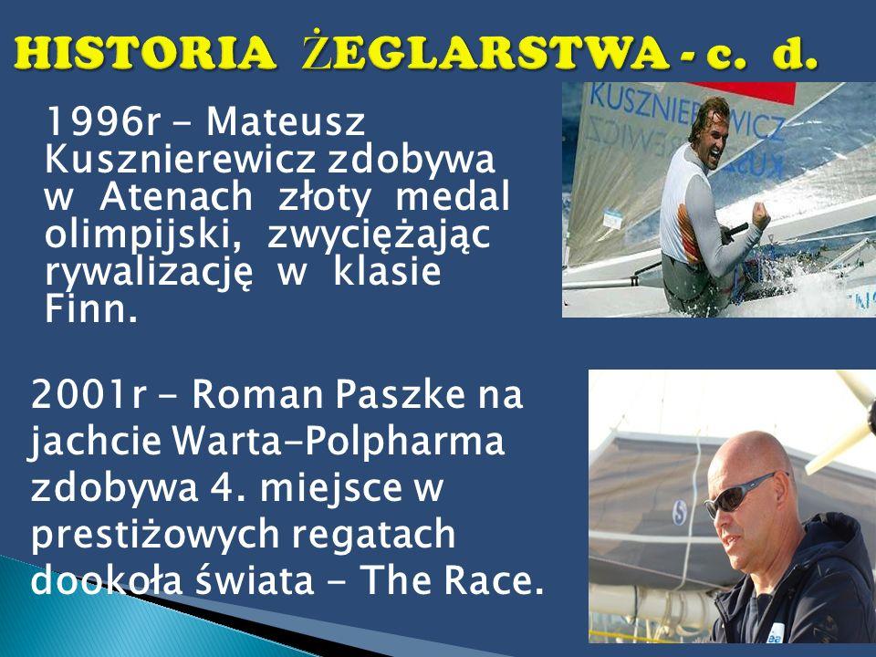 1996r - Mateusz Kusznierewicz zdobywa w Atenach złoty medal olimpijski, zwyciężając rywalizację w klasie Finn. 2001r - Roman Paszke na jachcie Warta-P