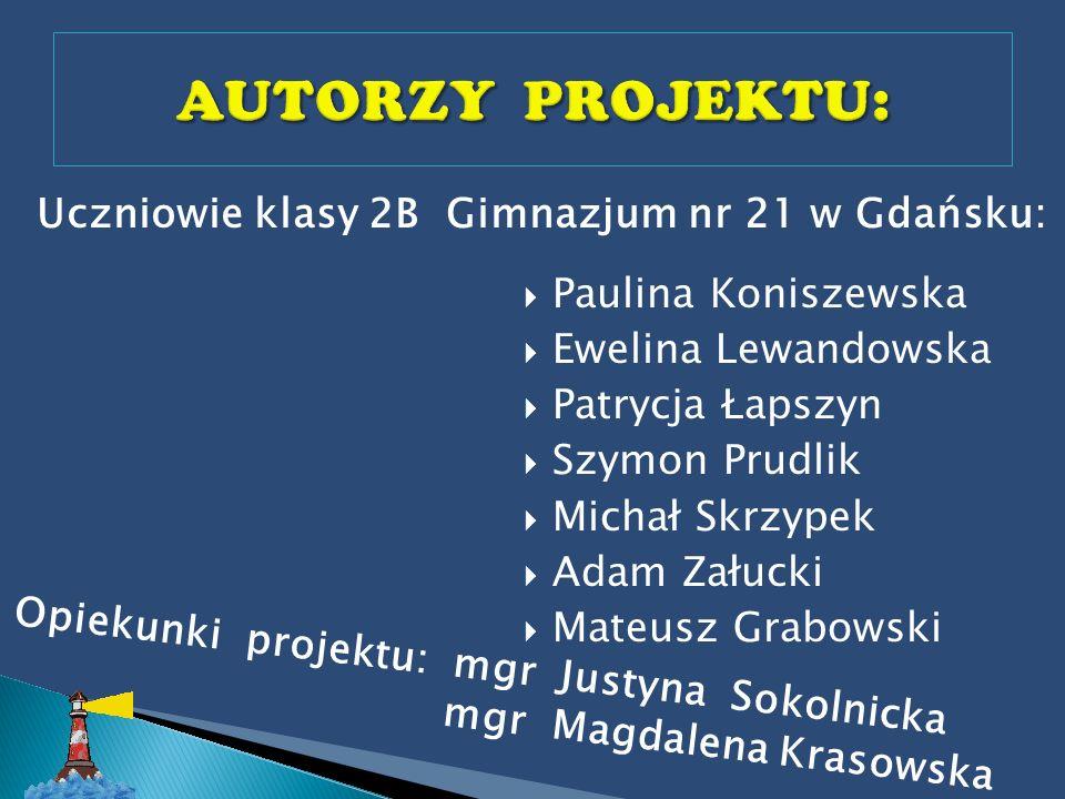 Uczniowie klasy 2B Gimnazjum nr 21 w Gdańsku: Paulina Koniszewska Ewelina Lewandowska Patrycja Łapszyn Szymon Prudlik Michał Skrzypek Adam Załucki Mat