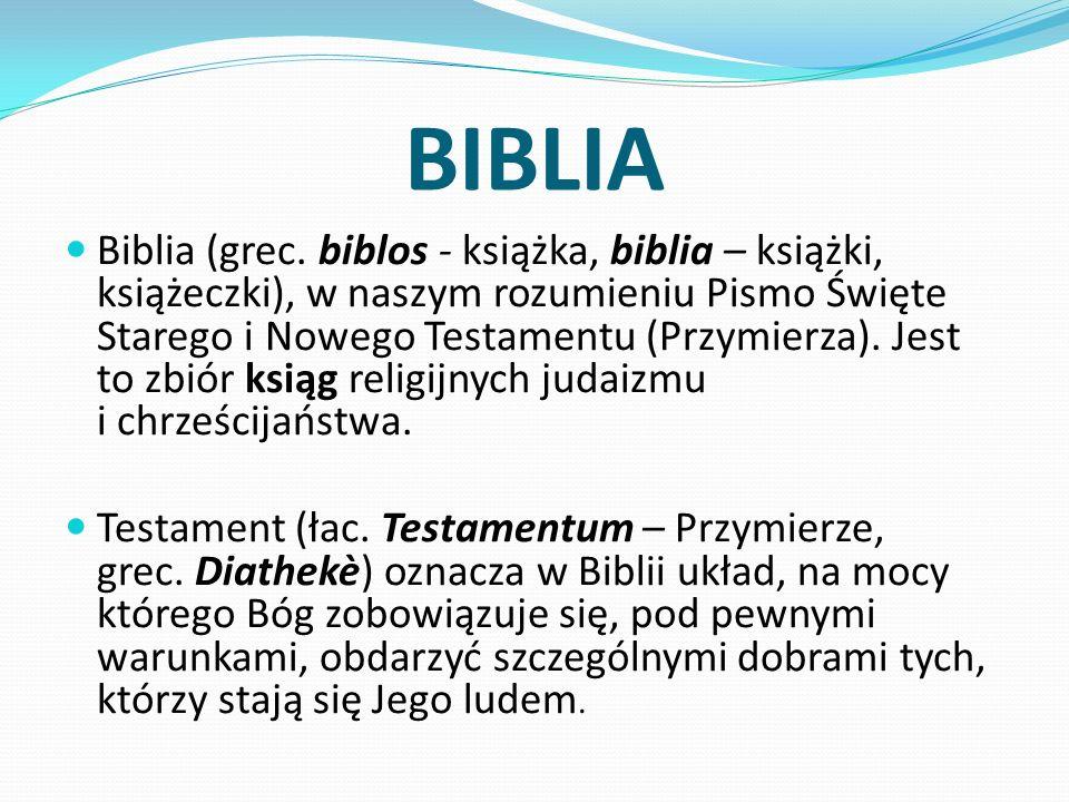 BIBLIA Biblia (grec. biblos - książka, biblia – książki, książeczki), w naszym rozumieniu Pismo Święte Starego i Nowego Testamentu (Przymierza). Jest
