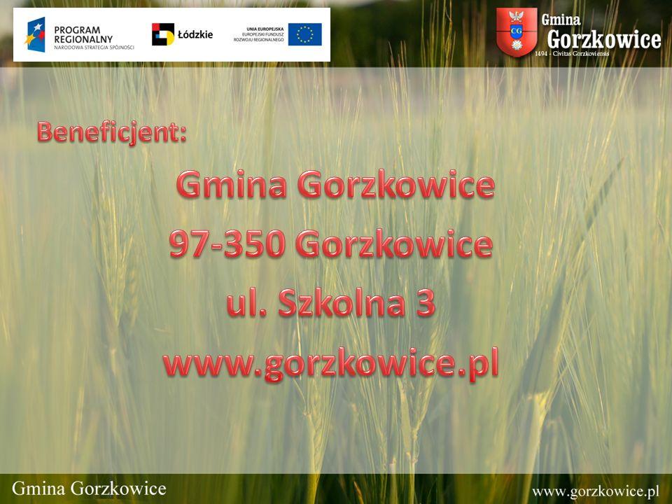 Tytuł projektu: Wsparcie systemu ratowniczo gaśniczego w Gminie Gorzkowice poprzez zakup podnośnika- pożarniczego dla Ochotniczej Straży Pożarnej w Gorzkowicach