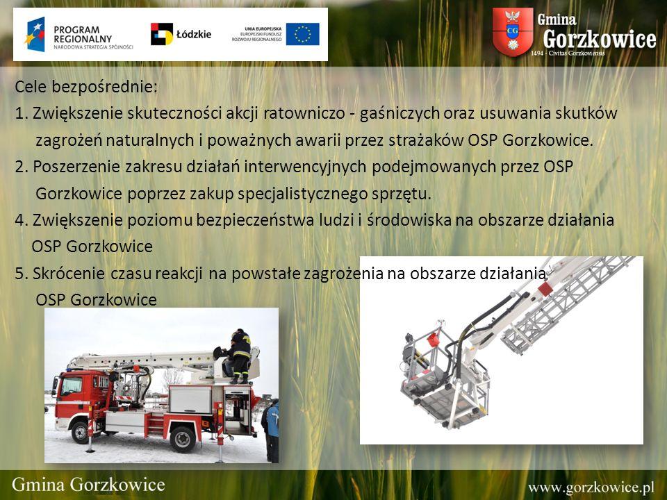 Cele bezpośrednie: 1. Zwiększenie skuteczności akcji ratowniczo - gaśniczych oraz usuwania skutków zagrożeń naturalnych i poważnych awarii przez straż