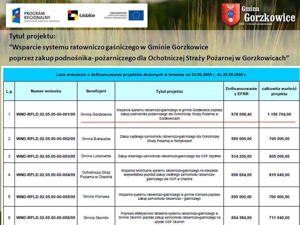 Tytuł projektu: Wsparcie systemu ratowniczo gaśniczego w Gminie Gorzkowice poprzez zakup podnośnika- pożarniczego dla Ochotniczej Straży Pożarnej w Go
