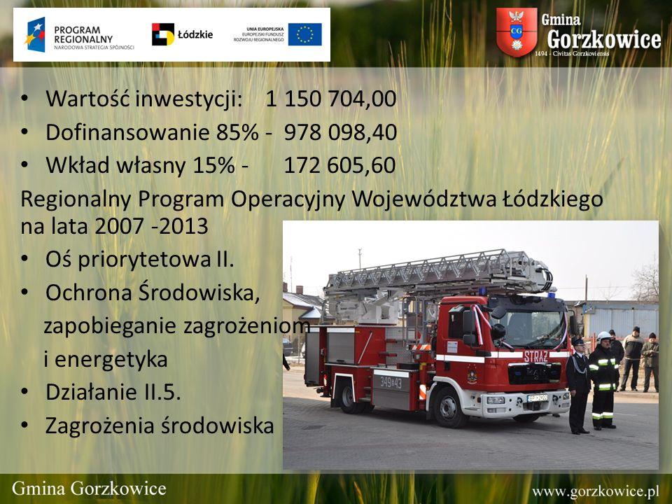 Wartość inwestycji: 1 150 704,00 Dofinansowanie 85% - 978 098,40 Wkład własny 15% - 172 605,60 Regionalny Program Operacyjny Województwa Łódzkiego na