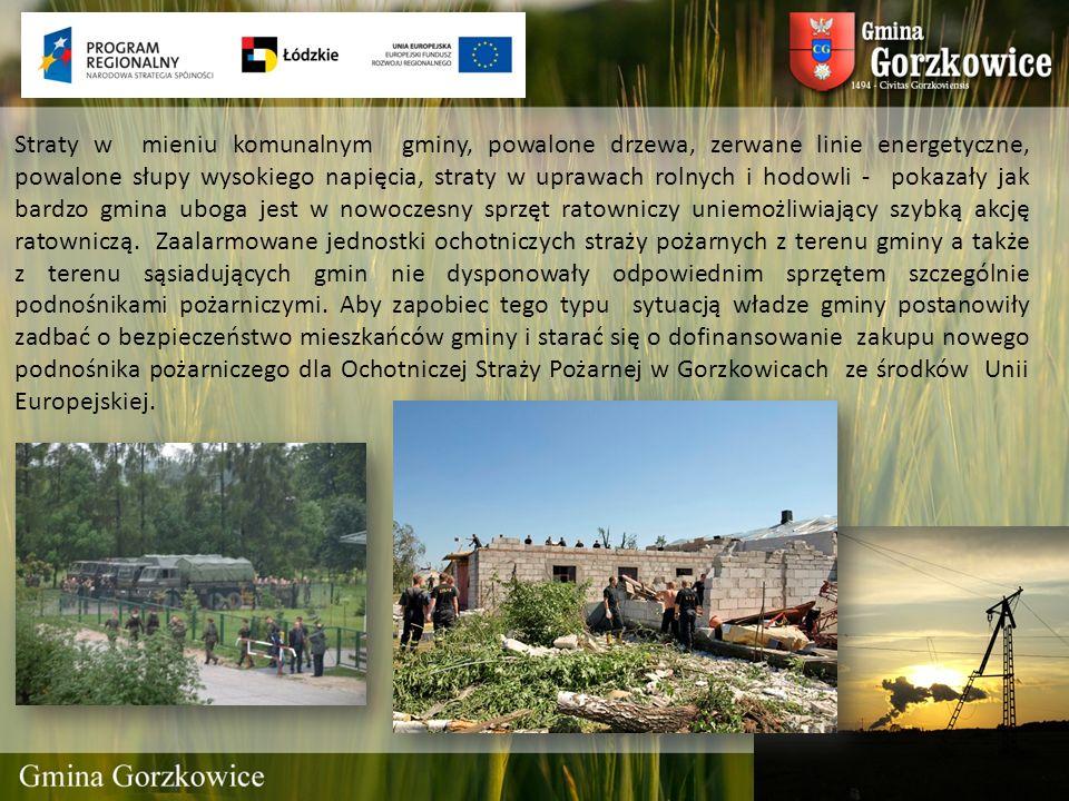 Straty w mieniu komunalnym gminy, powalone drzewa, zerwane linie energetyczne, powalone słupy wysokiego napięcia, straty w uprawach rolnych i hodowli