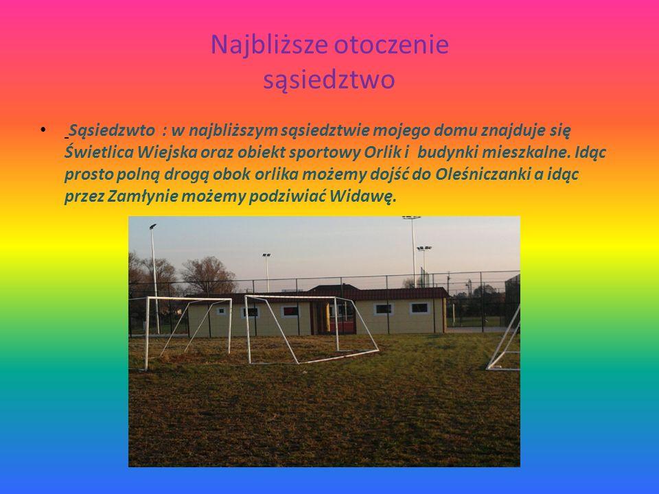 Najbliższe otoczenie sąsiedztwo Sąsiedzwto : w najbliższym sąsiedztwie mojego domu znajduje się Świetlica Wiejska oraz obiekt sportowy Orlik i budynki mieszkalne.