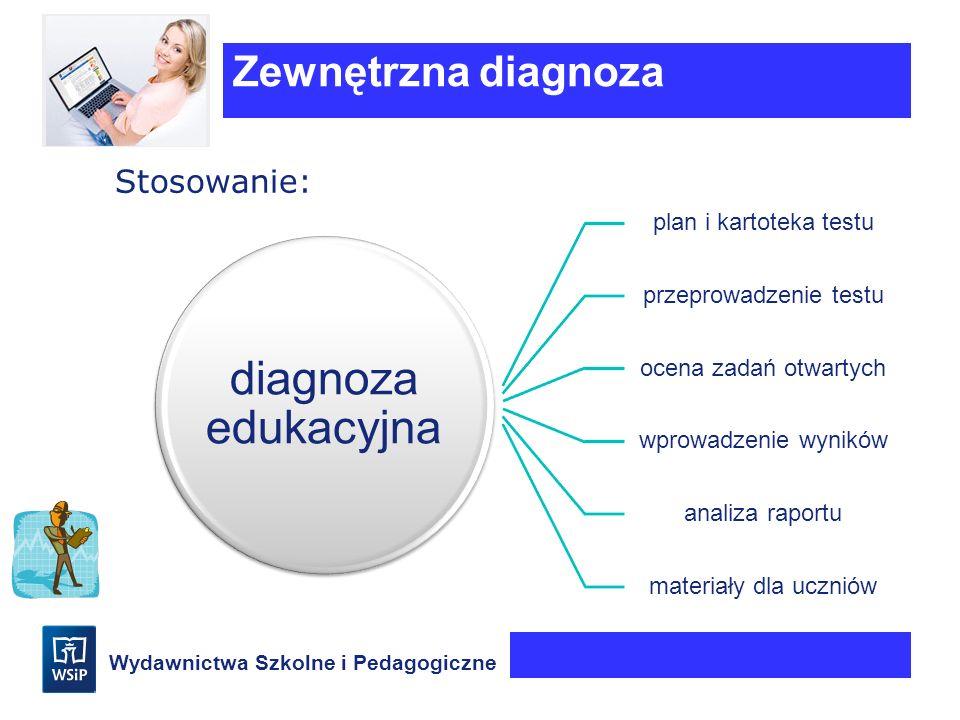 Wydawnictwa Szkolne i Pedagogiczne Stosowanie: Zewnętrzna diagnoza diagnoza edukacyjna plan i kartoteka testu przeprowadzenie testu ocena zadań otwart