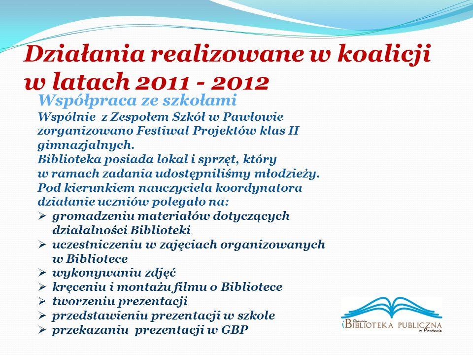 Działania realizowane w koalicji w latach 2011 - 2012 Współpraca ze szkołami Wspólnie z Zespołem Szkół w Pawłowie zorganizowano Festiwal Projektów klas II gimnazjalnych.
