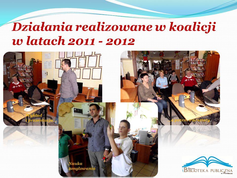 Działania realizowane w koalicji w latach 2011 - 2012 Wykład i prezentacja… Nauka żonglowania …a potem warsztaty