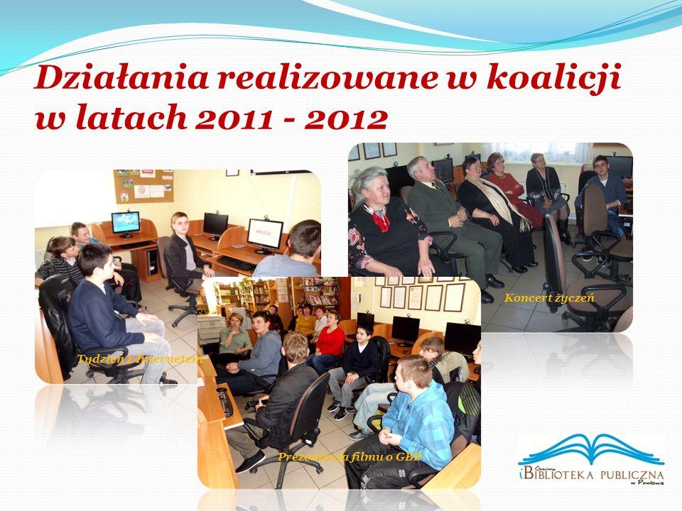Działania realizowane w koalicji w latach 2011 - 2012 Prezentacja filmu o GBP Koncert życzeń Tydzień z Internetem