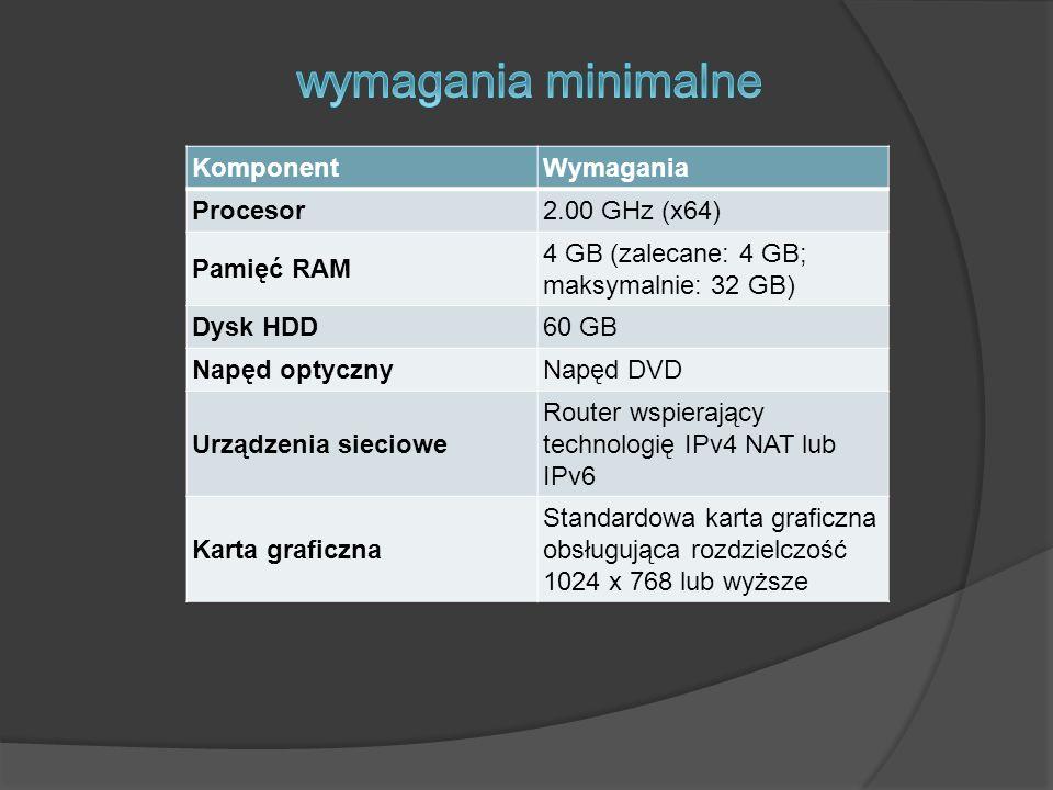 KomponentWymagania Procesor2.00 GHz (x64) Pamięć RAM 4 GB (zalecane: 4 GB; maksymalnie: 32 GB) Dysk HDD60 GB Napęd optycznyNapęd DVD Urządzenia siecio