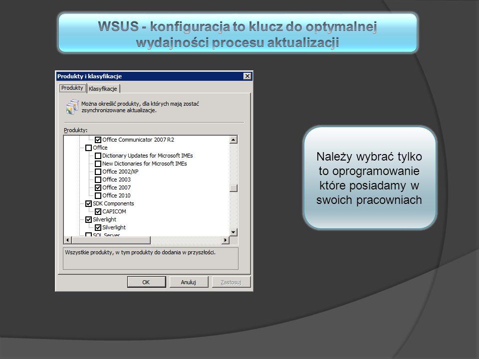 Należy wybrać tylko to oprogramowanie które posiadamy w swoich pracowniach