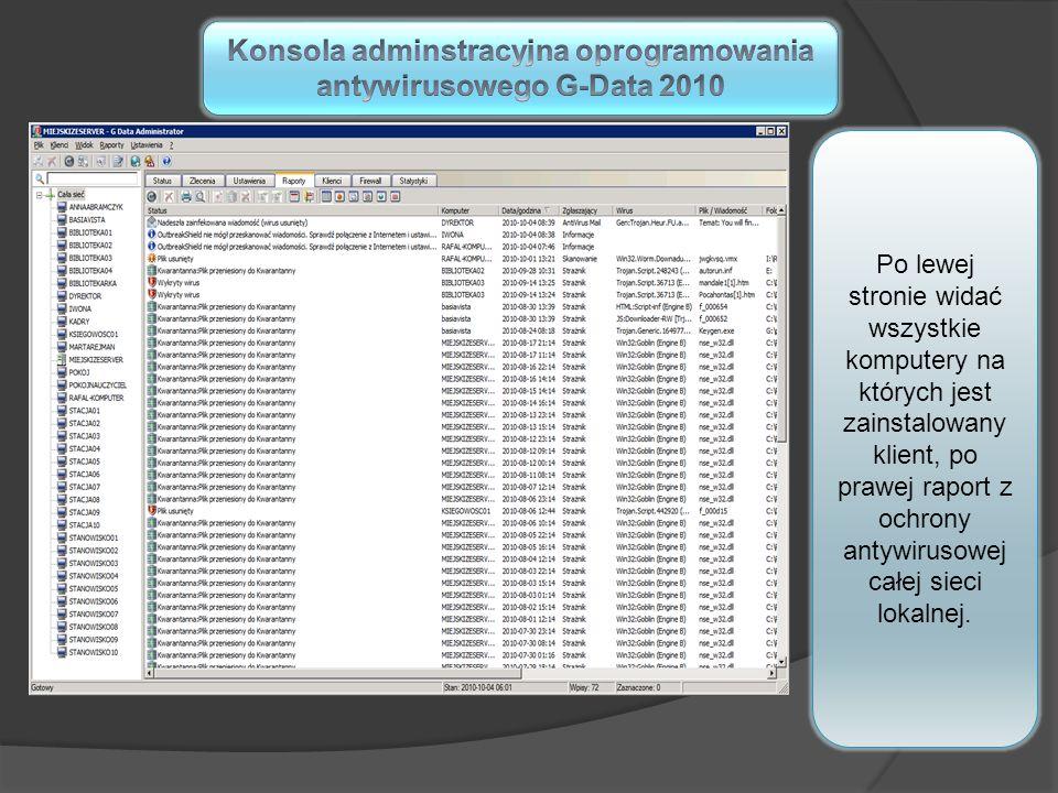 Po lewej stronie widać wszystkie komputery na których jest zainstalowany klient, po prawej raport z ochrony antywirusowej całej sieci lokalnej.