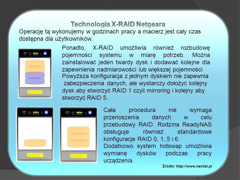 Ponadto, X-RAID umożliwia również rozbudowę pojemności systemu w miarę potrzeb. Można zainstalować jeden twardy dysk i dodawać kolejne dla zapewnienia