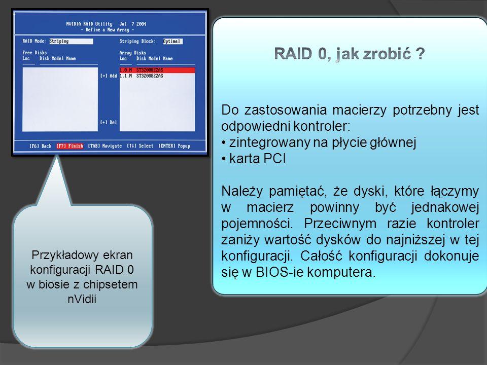 Przykładowy ekran konfiguracji RAID 0 w biosie z chipsetem nVidii