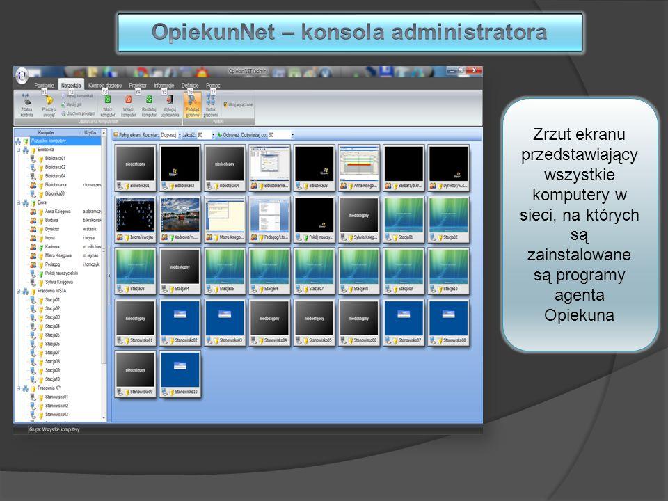 Zrzut ekranu przedstawiający wszystkie komputery w sieci, na których są zainstalowane są programy agenta Opiekuna