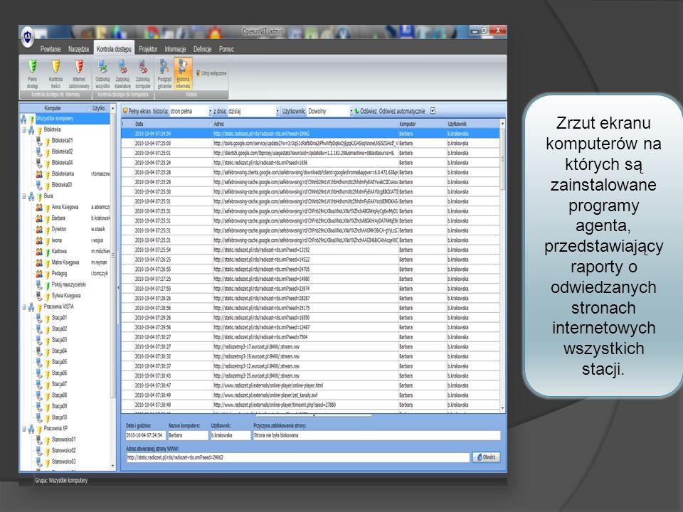 Zrzut ekranu komputerów na których są zainstalowane programy agenta, przedstawiający raporty o odwiedzanych stronach internetowych wszystkich stacji.