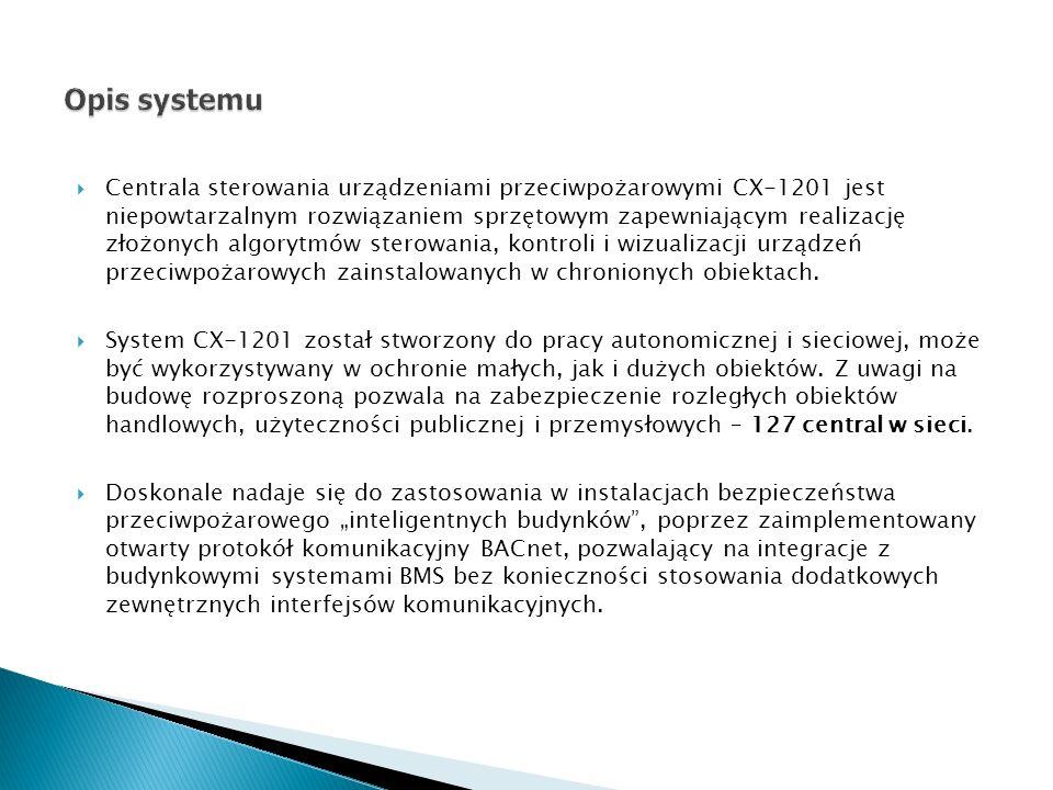 Centrala sterowania urządzeniami przeciwpożarowymi CX-1201 jest niepowtarzalnym rozwiązaniem sprzętowym zapewniającym realizację złożonych algorytmów sterowania, kontroli i wizualizacji urządzeń przeciwpożarowych zainstalowanych w chronionych obiektach.