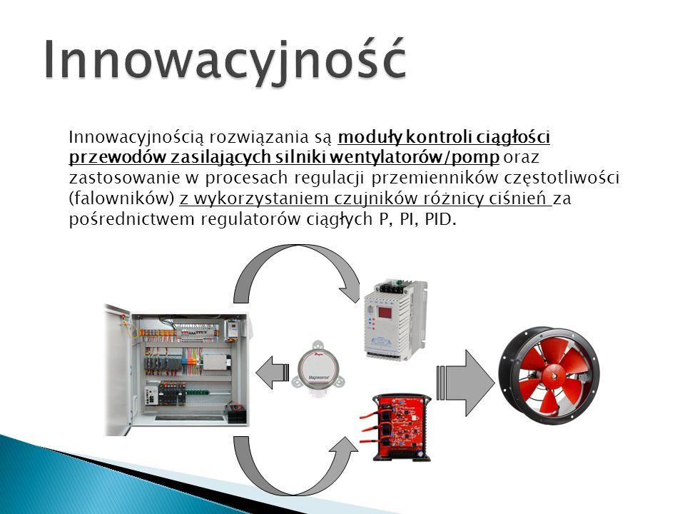 Innowacyjnością rozwiązania są moduły kontroli ciągłości przewodów zasilających silniki wentylatorów/pomp oraz zastosowanie w procesach regulacji prze