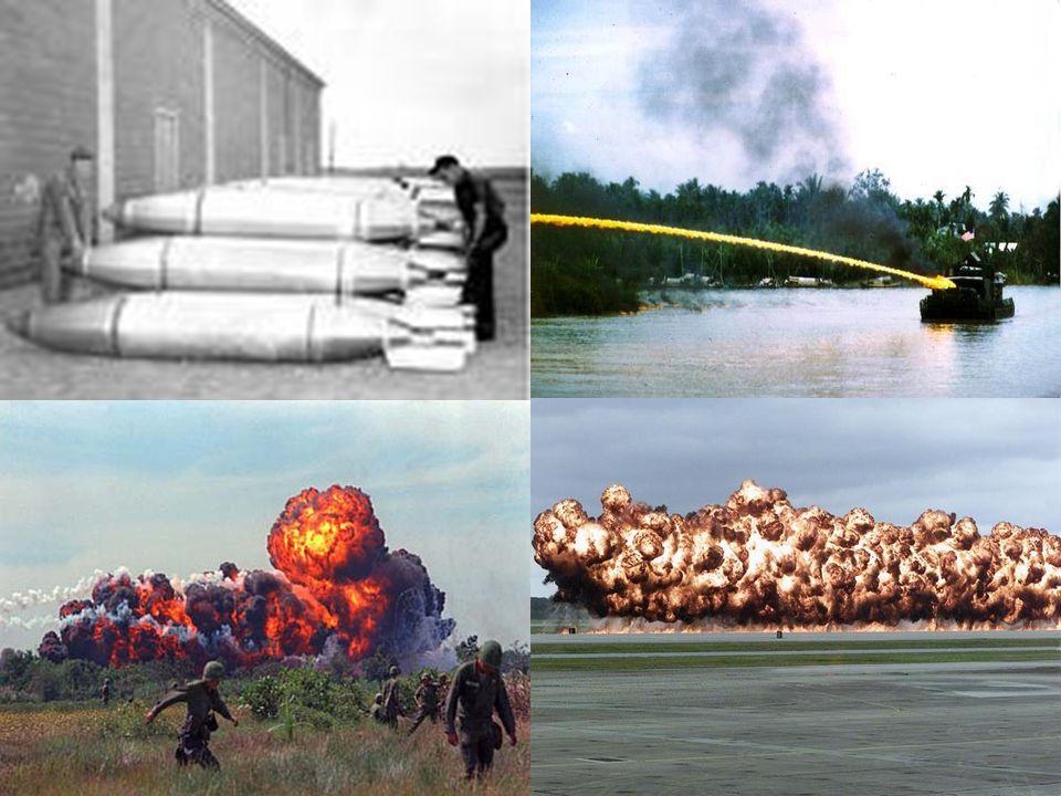 Napalm był bardzo często stosowany jako broń. Doprowadził do śmierci wielu ludzi w Wietnamie, Korei... Zakazany w roku 1974 na mocy rezolucji ONZ. Uzn