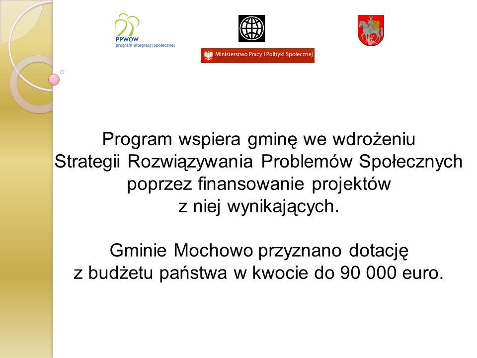 Program wspiera gminę we wdrożeniu Strategii Rozwiązywania Problemów Społecznych poprzez finansowanie projektów z niej wynikających. Gminie Mochowo pr