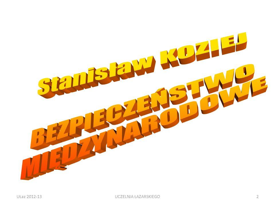 Trudności definicyjne Terroryzm a klasyczna walka zbrojna, walka narodowowyzwoleńcza Polska partyzantka w II wojnie światowej Czeczenia Irak UŁaz 2012-1353UCZELNIA ŁAZARSKIEGO