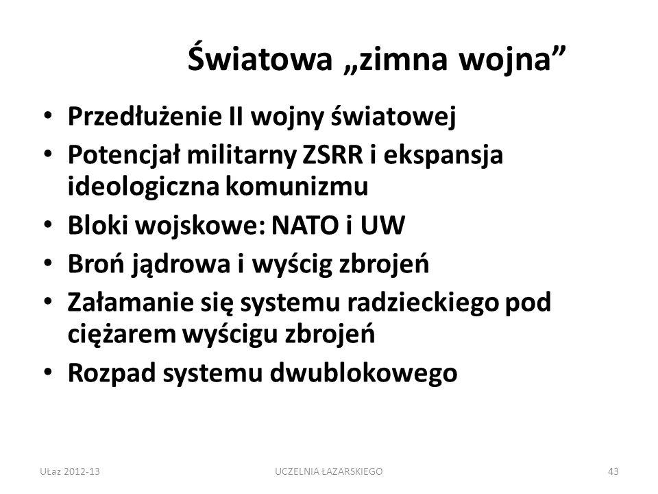 Światowa zimna wojna Przedłużenie II wojny światowej Potencjał militarny ZSRR i ekspansja ideologiczna komunizmu Bloki wojskowe: NATO i UW Broń jądrowa i wyścig zbrojeń Załamanie się systemu radzieckiego pod ciężarem wyścigu zbrojeń Rozpad systemu dwublokowego UŁaz 2012-1343UCZELNIA ŁAZARSKIEGO