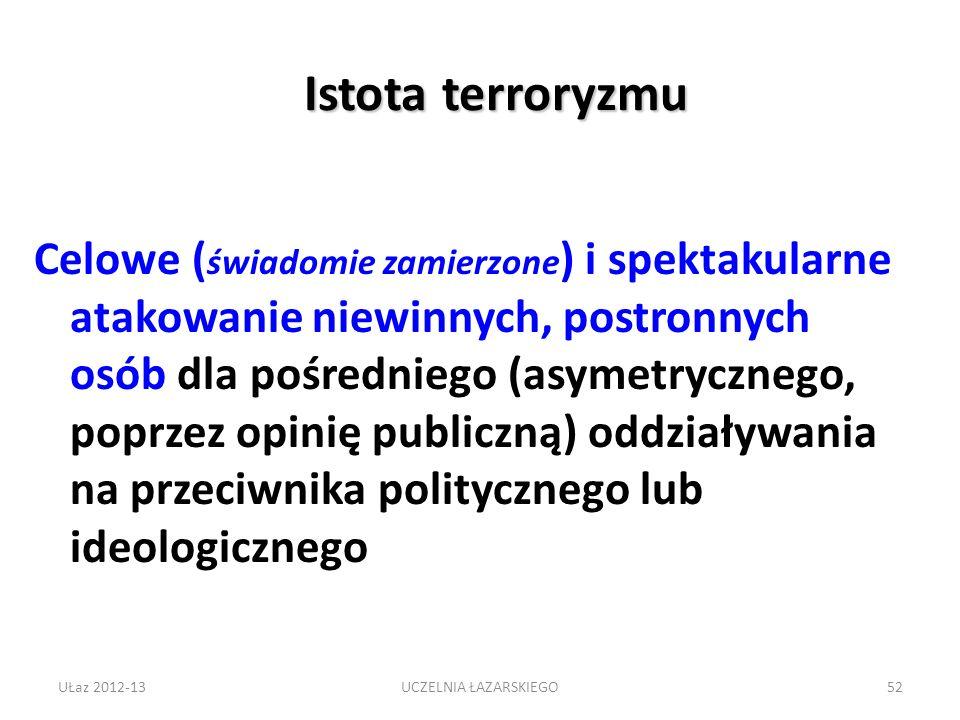 Istota terroryzmu Celowe ( świadomie zamierzone ) i spektakularne atakowanie niewinnych, postronnych osób dla pośredniego (asymetrycznego, poprzez opinię publiczną) oddziaływania na przeciwnika politycznego lub ideologicznego UŁaz 2012-1352UCZELNIA ŁAZARSKIEGO