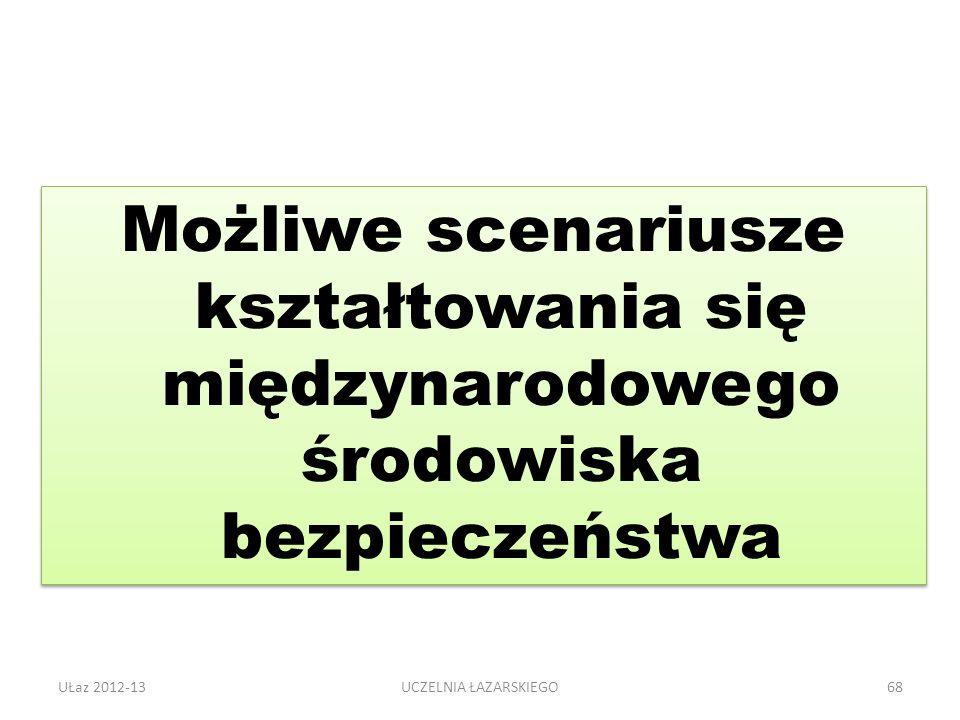 UŁaz 2012-1368 Możliwe scenariusze kształtowania się międzynarodowego środowiska bezpieczeństwa UCZELNIA ŁAZARSKIEGO