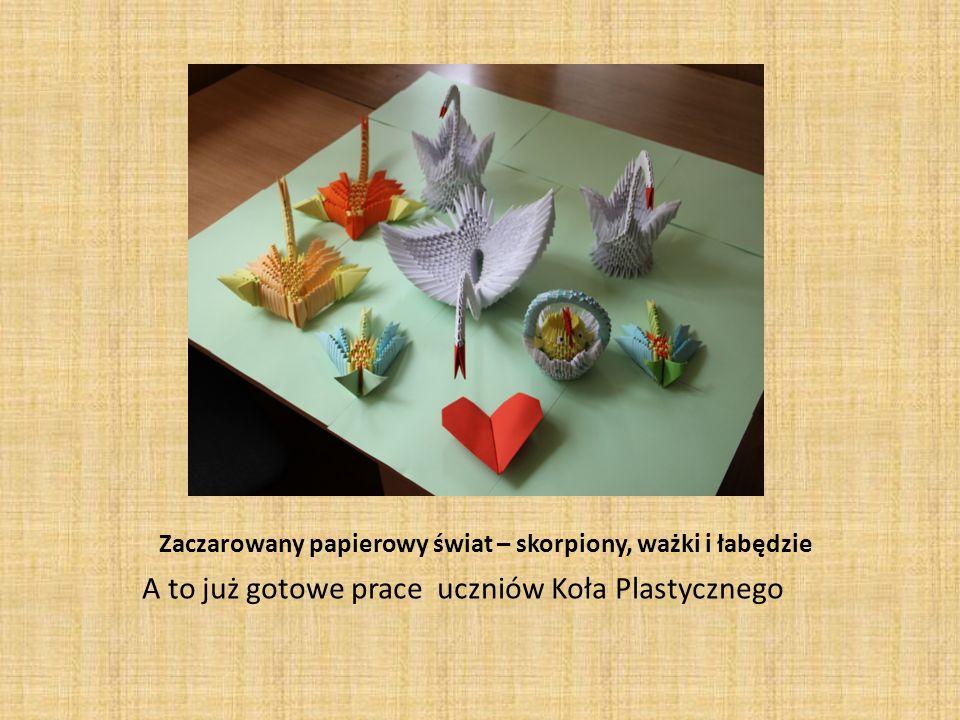 Zaczarowany papierowy świat – skorpiony, ważki i łabędzie A to już gotowe prace uczniów Koła Plastycznego