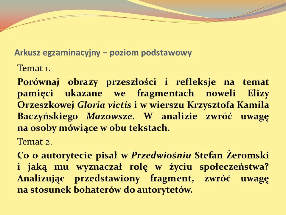 Arkusz egzaminacyjny poziom podstawowy Temat 1. Porównaj obrazy przeszłości i refleksje na temat pamięci ukazane we fragmentach noweli Elizy Orzeszkow
