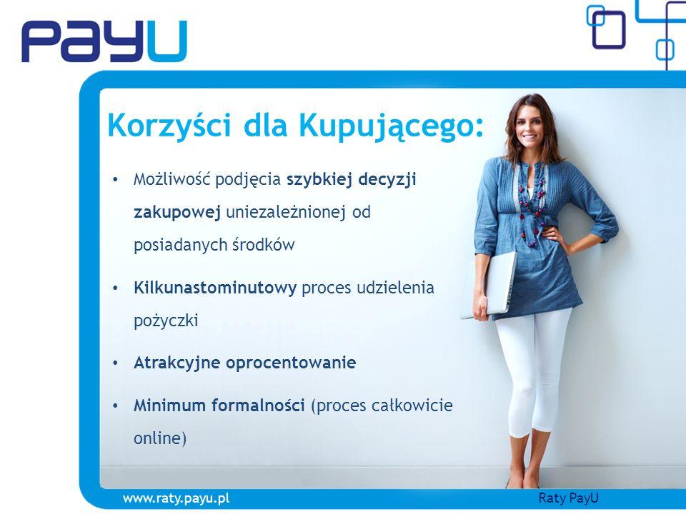 www.raty.payu.plRaty PayU Korzyści dla e-sklepu: Wzrost sprzedaży spowodowany: - Zwiększeniem siły nabywczej Kupującego - Możliwością podjęcia szybkiej decyzji zakupowej Środki z tytułu pożyczki przekazywane automatycznie do Sprzedawcy Brak opłat prowizyjnych związanych z płatnością online Brak jakichkolwiek formalności